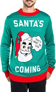 Men's Santa's Coming to Town Funny Christmas Sweater - Green Santa Ugly Christmas Sweater