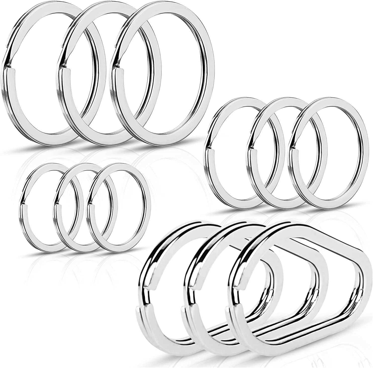 (12pcs) Keyrings, Assorted Flat Metal Key Rings Including Unique Oval Design, 4 Different Sizes, Multipurpose Use for Car, Home, Office Keys and Zipper Pulls…