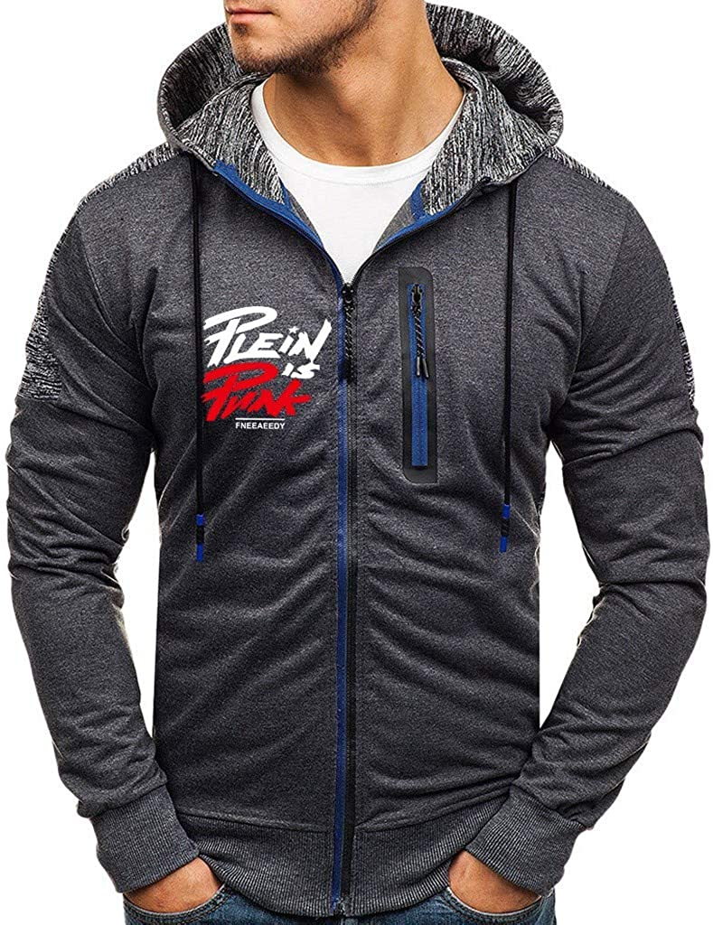 Men's Long Sleeve Overseas parallel import regular item Splicing Printed Lined 2021new shipping free shipping Full-Zip Fleece Hooded