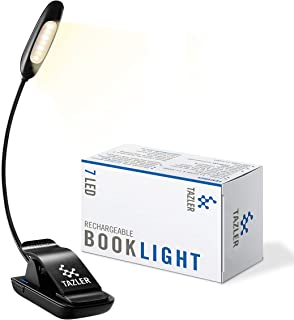 TAZLER 7 LED Rechargeable Book Light Clip on Reading Lights for Reading in Bed,9-Level Warm/Cool White Brightness, Eye Car...