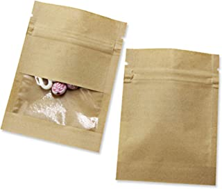 Sponsored Ad - 100 Pack Clear Window Airtight Brown Kraft Paper for Zip Food Storage Lock Small Bags Reclosable Seal 2.7x3...