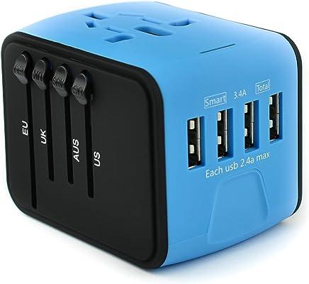 Emma's - Adaptador de Viaje 4 Puertos USB de Carga rápida con Conector para América, Europa, Reino Unido y Australia (+160 países)