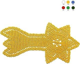 Tapete cometa amarilla de ganchillo para Navidad - Tamaño: 29 cm X 14 cm - Handmade - ITALY