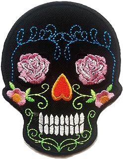 Parches - calavera esqueleto - negro - 7.2x9.4cm - termoadhesivos bordados aplique para ropa