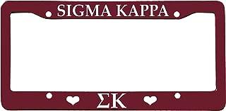 Sigma Kappa License Plate Frame - Deep Maroon with Hearts