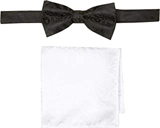 Buckle | 1922 Men's Black Paisley Bowtie with Paisely White Pocket Square, Black/white, One Size