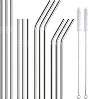 Hiware 12-Pack Stainless Steel Metal Straws Reusable with 2 Cleaning Brushes - Curved Drinking Straws for 30oz / 20oz Tumblers Yeti Dishwasher Safe