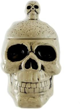 Tabletop Skull Box with Lid, Ceramic, Halloween, Decorative Platters, Lc0298