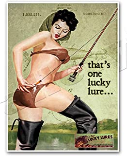 LUCKY LURES Vintage Fishing Advertisement Art Print PINUP GIRL Ad Poster - measures 24