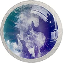Lade Handgrepen Trek Decoratieve Kast Knoppen Dressoir Lade Handvat 4 Pcs,Universum Galaxy Nebula Animal Horse
