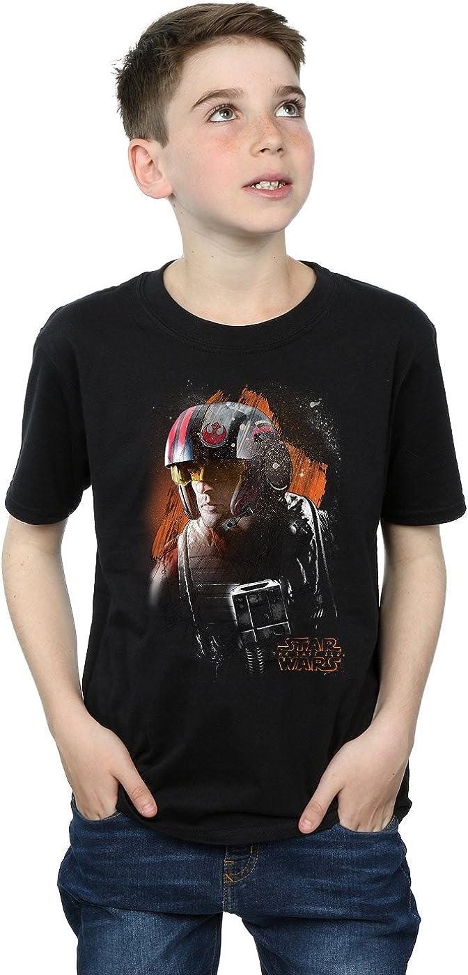 STAR WARS Boys The Last Jedi Poe Dameron Brushed T-Shirt 5-6 Years Black