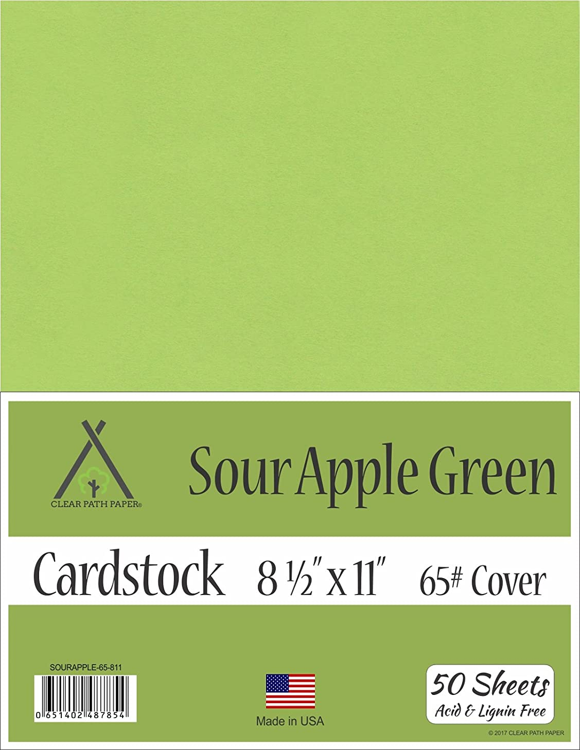 Sour Apple Green Cardstock - 8.5 x 11 inch - 65Lb Cover - 50 Sheets