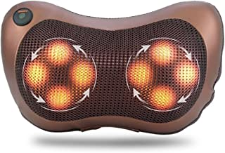 Neck Massage Pillow with 8 Heated Rollers, Shiatsu Back Shoulder Masssager with Car Adapter Deep Kneading Massager Cushion Lumbar Massager for Home, Office and Car Use, US Plug