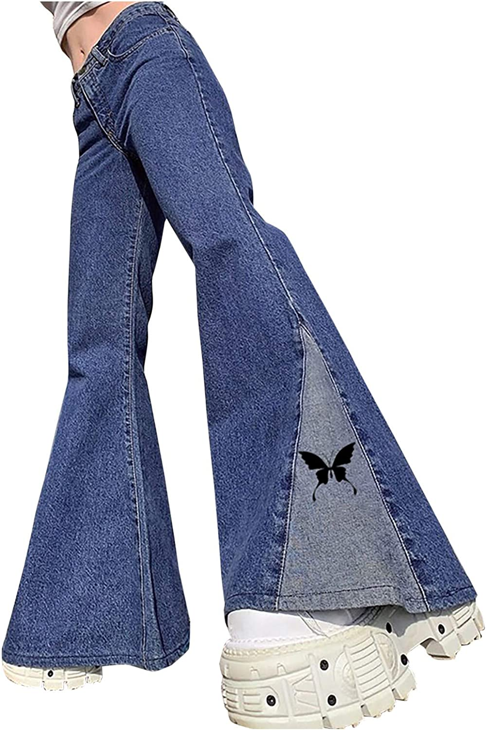 Kinsaiy Jeans for Women High Waisted Stretch,Street Trendy Butterfly Flares Wide Pants Baggy Trousers Denim Bell Jeans