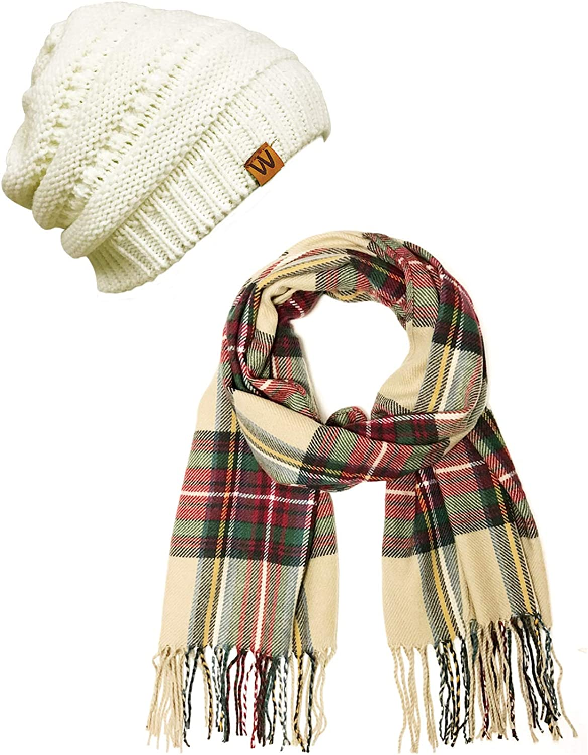 Wrapables trend rank Women's Plaid Print Long and Winter Beanie Warm depot Scarf