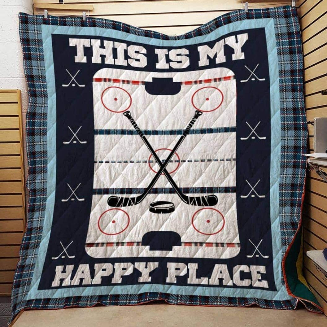 Christmas All Season Quilt Best Gifts for Mom Dad On Thanksgiving Plaid Pattern Quilt Throw Size This is My Happy Place Quilt Hockey Quilt Cotton Quilt King Queen Twin Throw Size