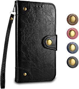 Sony Xperia XA1 Ultra Wallet Case GORASS Leather Flip Cover Full Body Protective Shockproof Case  Card Holder   Hand Strap  for Sony Xperia XA1 Ultra  Black