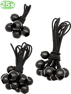 LUCIAMO ® Tensores - la alternativa inteligente a las ataduras de cables - 25 piezas 100/150/200mm, negro - con bola I gomas tensoras I elástica para tiendas de campaña I cuerdas para lona