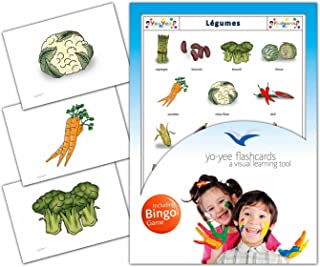 Vegetables Flashcards in French Language - Flash Cards with Matching Bingo Game for Toddlers, Kids, Children and Adults - Size 4.13 × 5.83 in - DIN A6