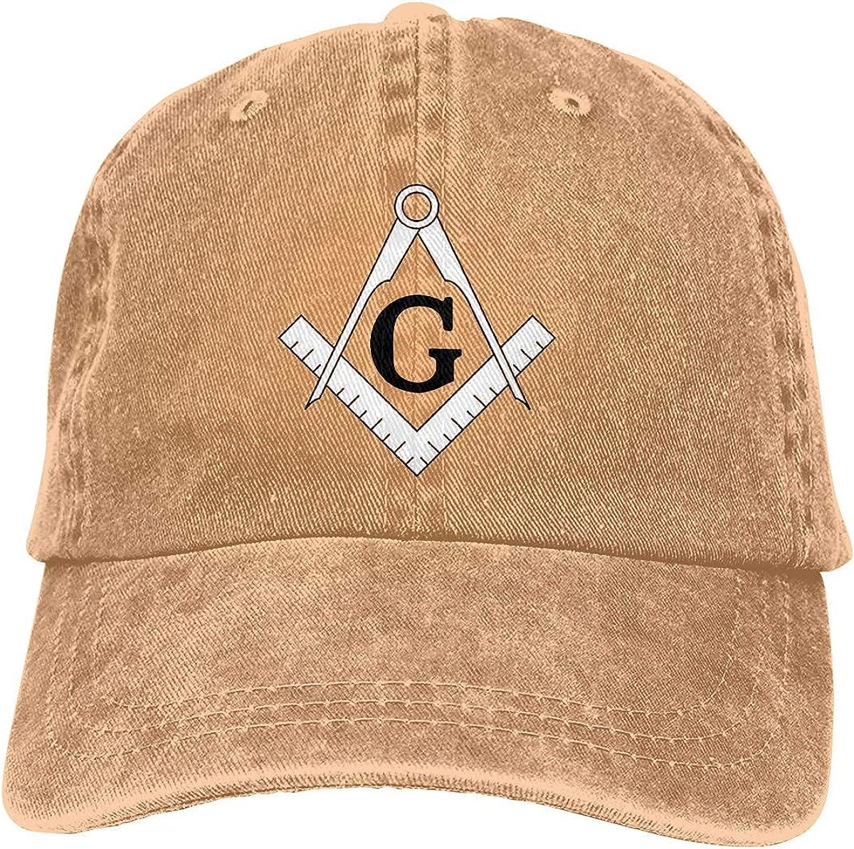 Freemason Pattern Compass Unisex Cowboy Hats Sport Denim Hat Fashion Baseball Cap Black