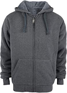 032b6d0f5 TanBridge Heavyweight Sherpa Lined Plus Sizes Warm Fleece Full Zip Mens  Hoodie with Padded Sleeve &