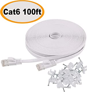 Cat 6 Ethernet Cable 100 ft Flat White, Slim Long Internet Network Lan patch cords, Solid..