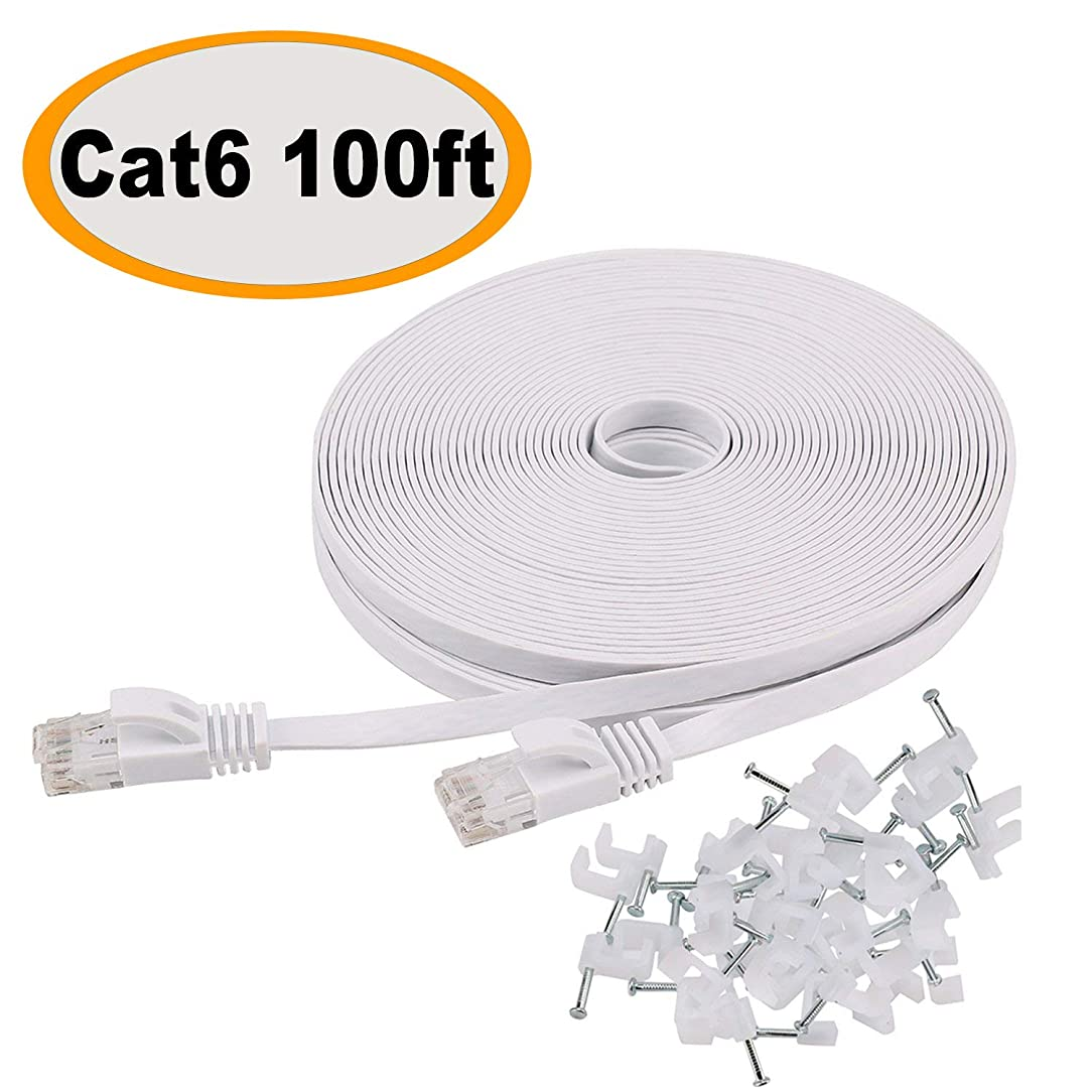 Cat 6 Ethernet Cable 100 ft Flat White, Slim Long Internet Network Lan patch cords, Solid Cat6 High Speed Computer wire with clips & Rj45 Connectors for Router, modem, faster than Cat5e/Cat5, 100 feet