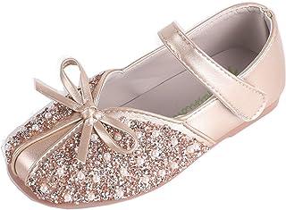 Zapatos de Princesa para niñas Zapatos de Cuero con Lazo de Diamantes de imitación y Antideslizantes Ligeros Zapatos Plano...