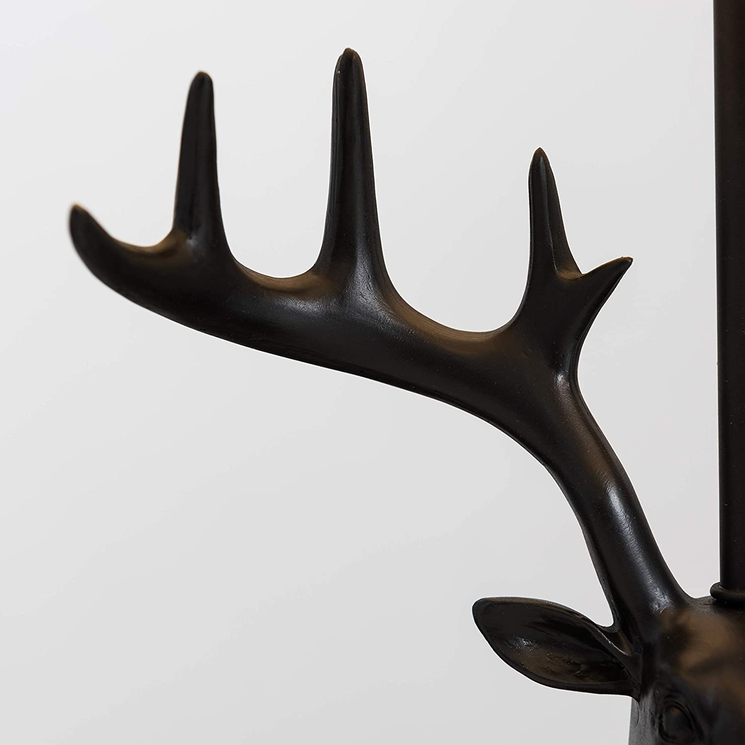 Caribou Head Design Table Lamp in a Matt Black Finish with a Grey Tapered Shade - Complete with a 4w LED Bulb [3000K Warm White] Beige + Led Bulb