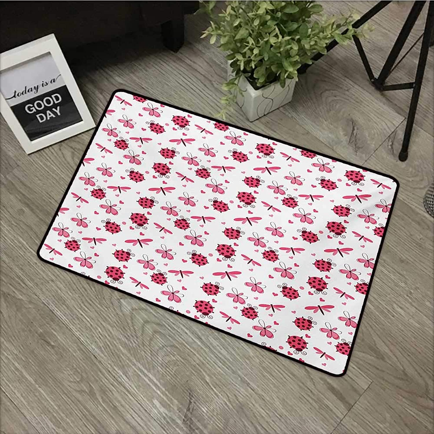 Pool Anti-Slip Door mat W35 x L59 INCH Ladybugs,Domed Back Round Ladybugs with Hearts Flowers Dragonflies Romantic Wings Pattern,Red White Non-Slip Door Mat Carpet