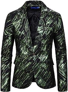 Alion Mens Fashion Slim Fit One Button Plaid Lapel Blazer Coat Jacket
