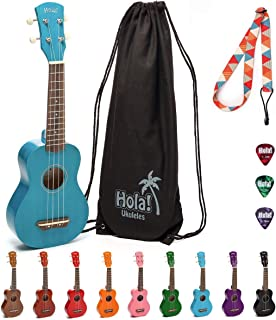 Hola! Music HM-21BU Soprano Ukulele Bundle with Canvas Tote Bag, Strap and Picks, Color Series, Blue