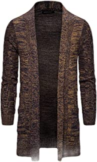 Mens Open Front Cable Knit Long Sleeve Shawl Collar Coat Cardigans