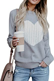 BBYES Womens Crew Neck Long Sleeve Knit Sweater Pullover Top with Unique Pocket