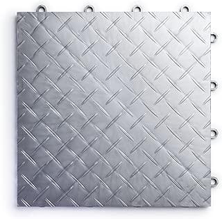 RaceDeck RD24ALLY Diamond Plate 24 Pack Durable Interlocking Modular Garage Flooring Tile, Alloy, Piece