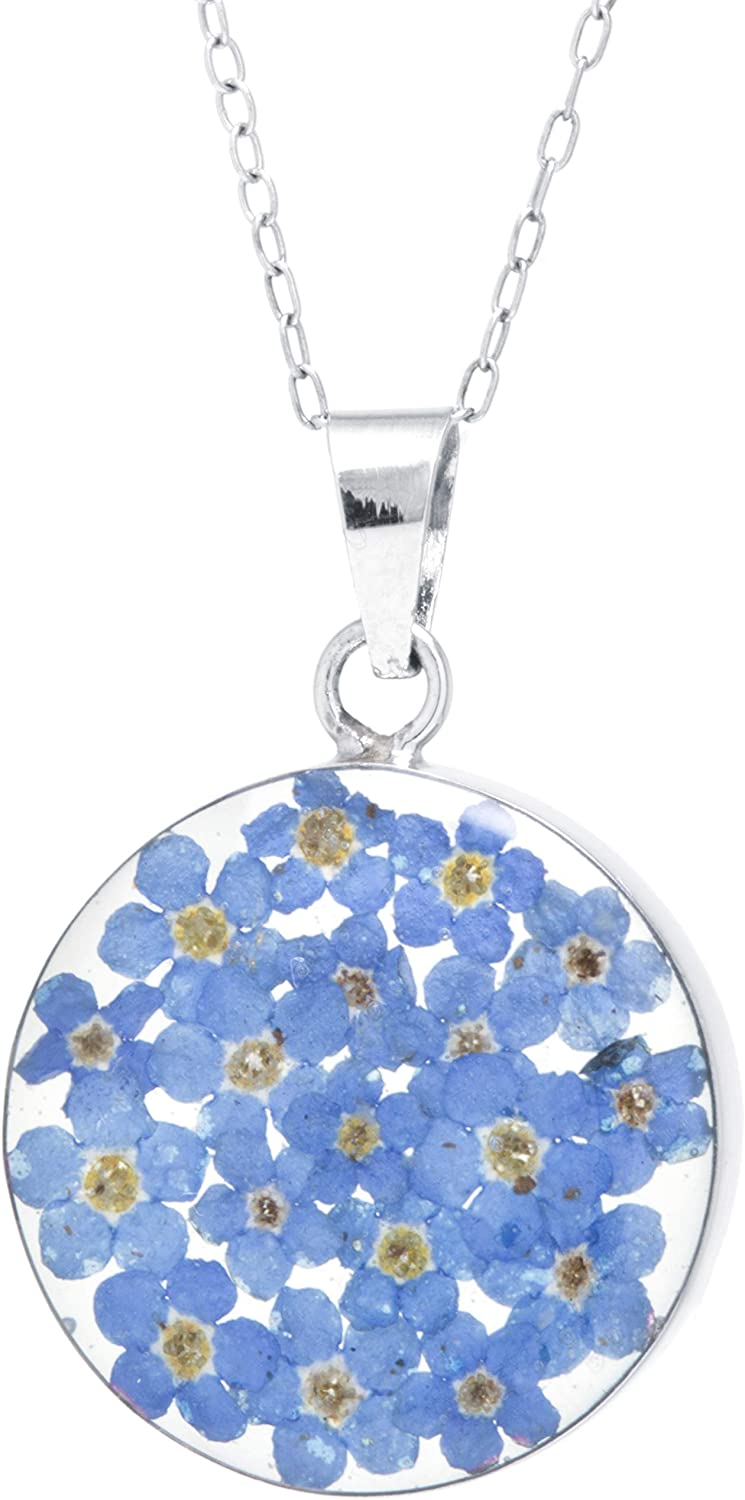 Sterling Max 44% OFF Silver Pressed Flower Round Necklace 16