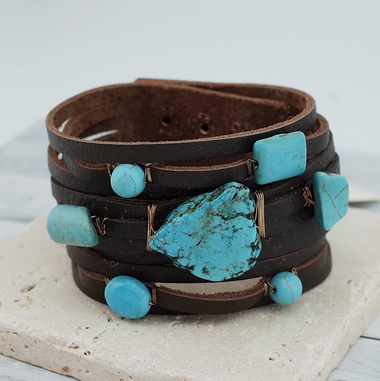 Semi Precious Stone Turquoise Leather Bracelet Button Closure