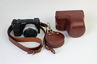 A6000 A6300 Case, BolinUS Handmade Genuine Real Leather FullBody Camera Case Bag Cover for Sony Alpha A6300 A6000 16-50mm Bottom Opening Version + Neck Strap + Mini Storage Bag - Brown