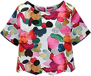 Women's Casual Calico Print Crop Blouse