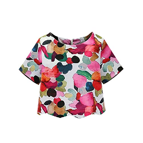 e0ce2edc08 SheIn Women's Casual Calico Print Crop Blouse
