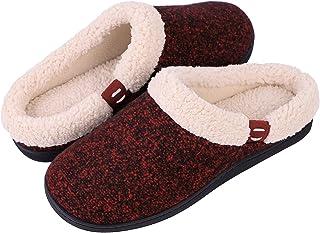 Women's Comfort Wool-Like Memory Foam Slippers Fuzzy Plush Slip-ons