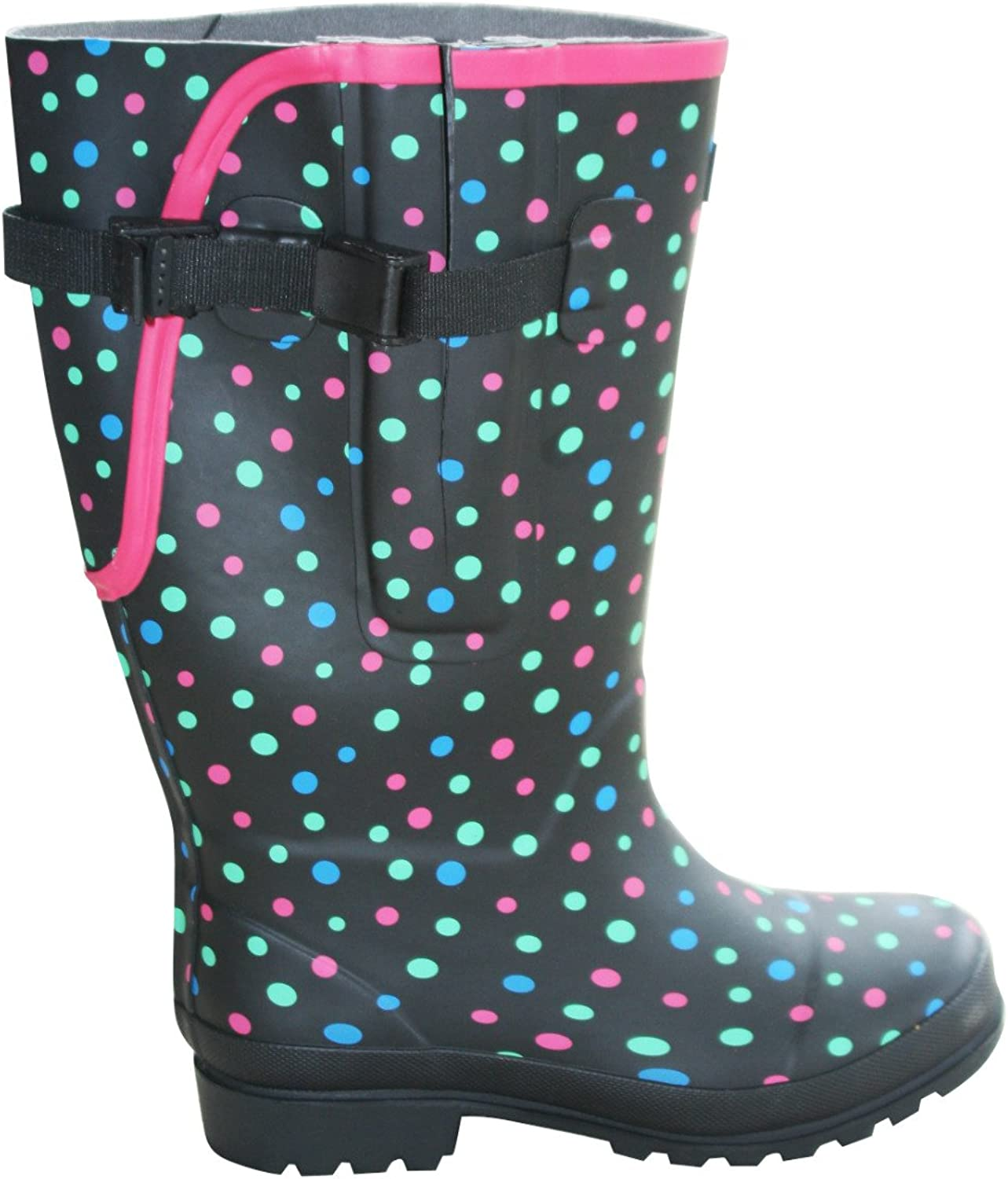 Jileon Extra Wide Calf Rubber Rain Boots with Rear Expansion - Wide in Calf, Foot and Ankle