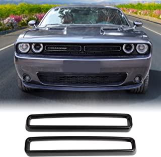 JeCar Front Grill Inserts Guards Grille Insert Cover Trim Challenger Accessories for Dodge Challenger 2015-2019 Carbon Fiber Pattern