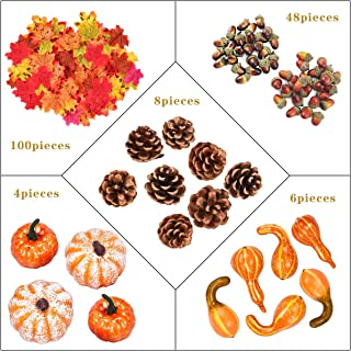 166Pcs Fall Harvest Decor Artificial Silky Mini Pumpkin Gourd Acorns Berries Maple Leaves Sunflowers for Falling Wedding T...