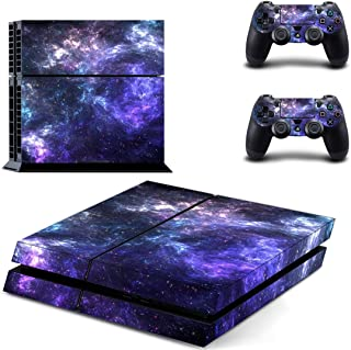 eSeeking Whole Body Vinyl Skin Sticker Decal Cover for PS4 Console and 2PCS Controllers Skins Purple Nebula