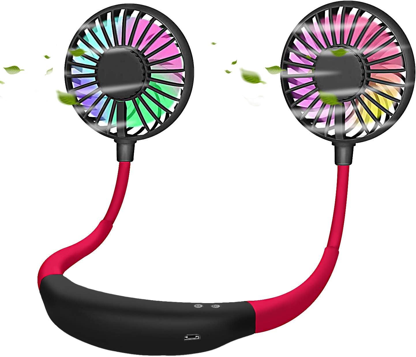 abitku Cooling Neckband Fan, Lazy Portable Neckband Fan, Hands Free Personal Portable USB Mini Fan Rechargeable Headphone Design Wearable 360° Cooling Adjustment, 3 Speeds & 2 Modes LED Light, Black