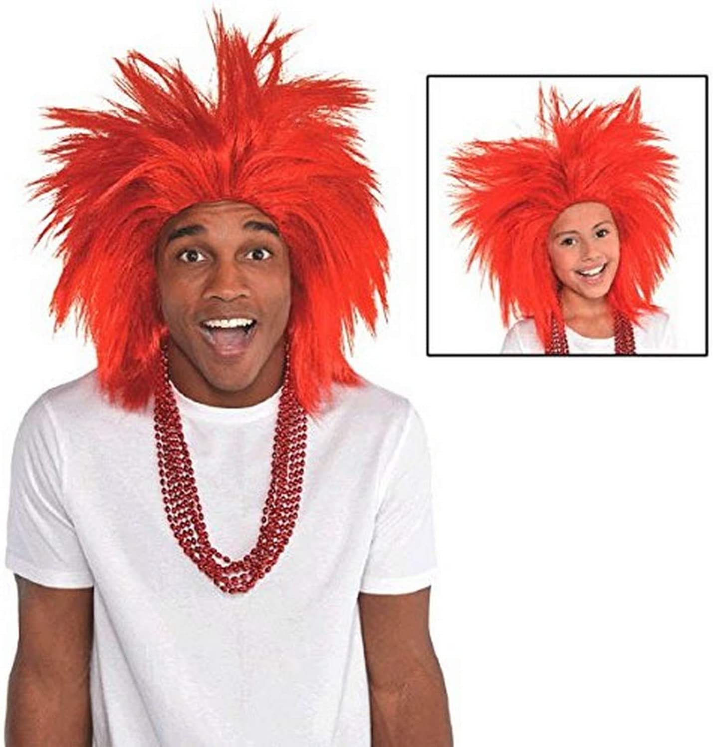 Shipping included Amscan Faux Charlotte Mall Crazy Costume Unisex size Wig Red One