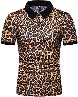 Mens Leopard Print Fashion Short Sleeve Large Size Casual Polo Shirt Tops
