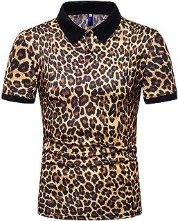 Gergeos Fashion Blouse Men's Fashion Leopard Print Button Down Shirts Short Sleeve Casual Shirt