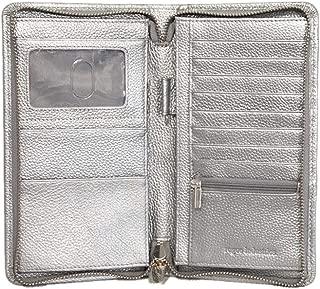 Women's Zip Wallet by Rogue Industries - Rogue Wallet Monhegan Travel Zip Wallet - Vegan Leather Wallet with RFID Shield - Silver